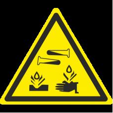 Знак W04 Опасно. Едкие и коррозионные вещества (размер 200х200) фотолюминесцентный