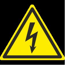 Знак W08 Осторожно. Электрическое напряжение (размер 200х200) фотолюминесцентный