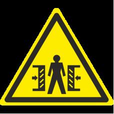 Знак W23 Внимание. Опасность зажима (размер 200х200) фотолюминесцентный