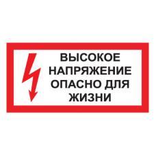 Знак T50 Высокое напряжение. Опасно для жизни (Пластик 150 х 300)