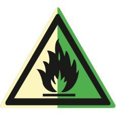 Знак W01 Пожароопасно. Легковоспламеняющиеся вещества (Фотолюминесцентный Пленка 200 x 200) Т2