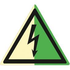 Знак W08 Опасность поражения электрическим током (Фотолюминесцентный Пленка 200 x 200) Т2